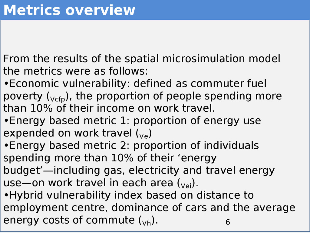 6 6 Metrics overview From the results of the sp...