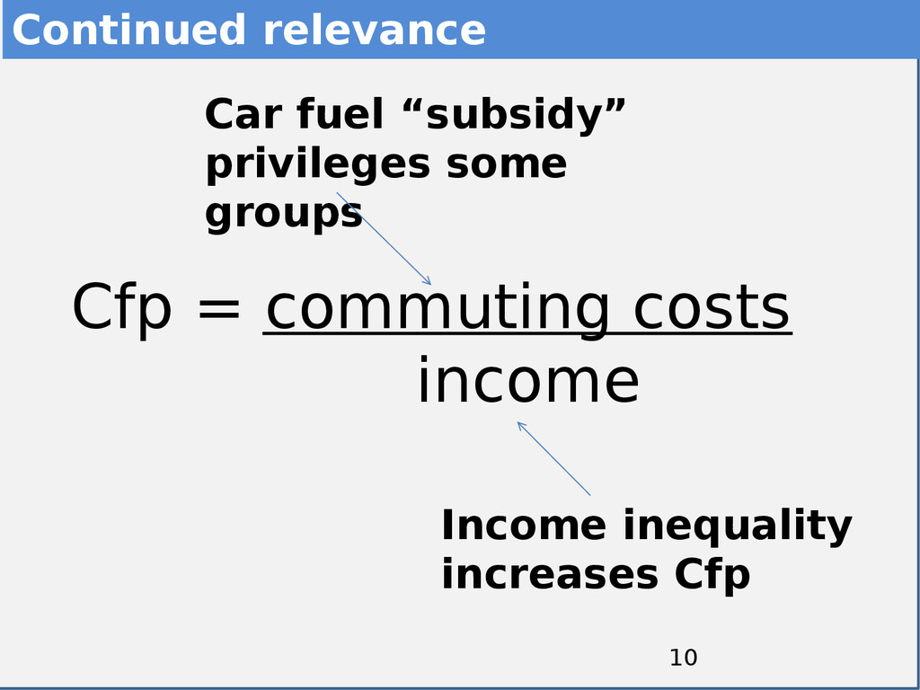 10 Cfp = commuting costs income Continued relev...