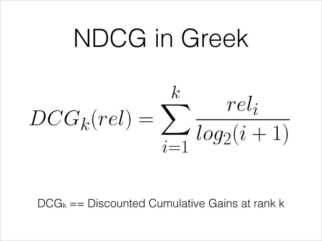 NDCG in Greek DCGk == Discounted Cumulative Gai...