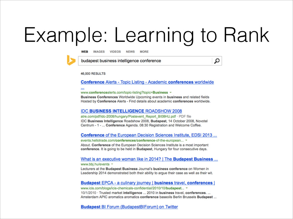 Example: Learning to Rank