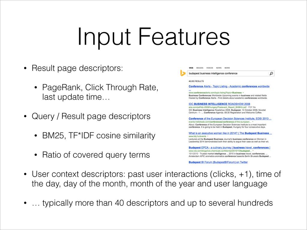 Input Features • Result page descriptors: • Pag...