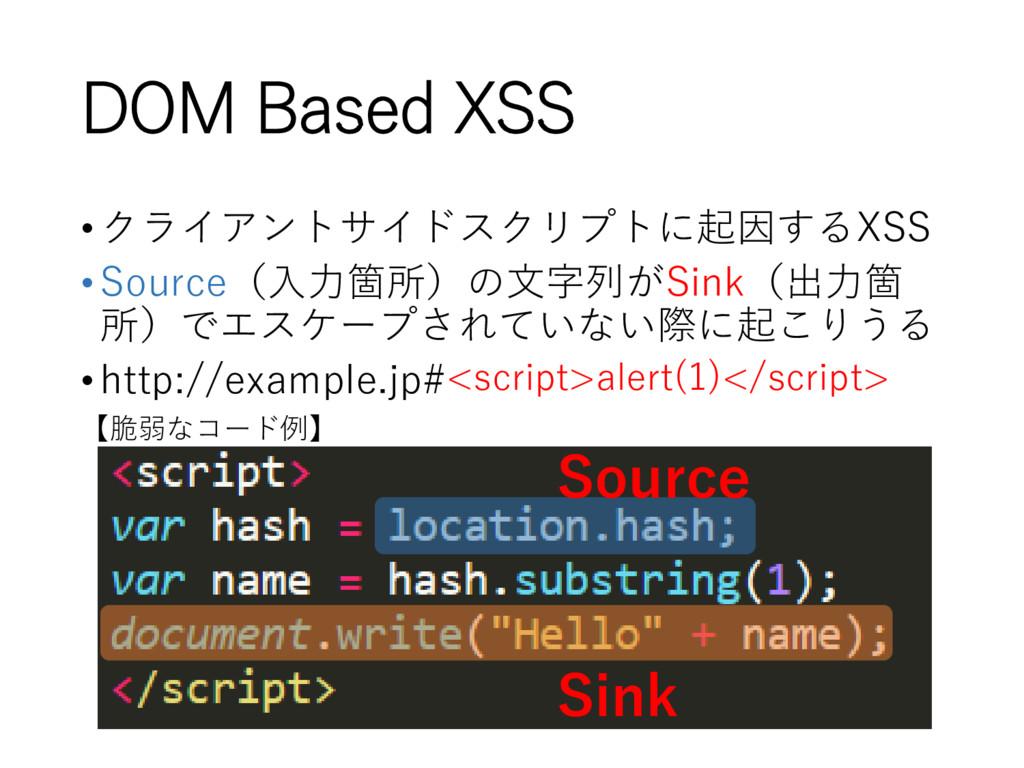 DOM Based XSS •クライアントサイドスクリプトに起因するXSS •Source(入...
