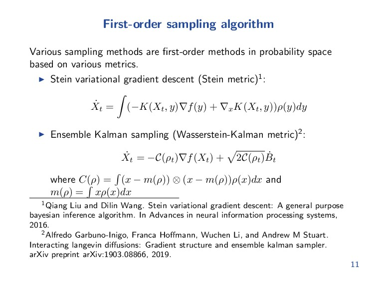 First-order sampling algorithm Various sampling...