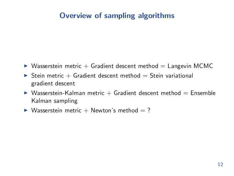 Overview of sampling algorithms Wasserstein met...