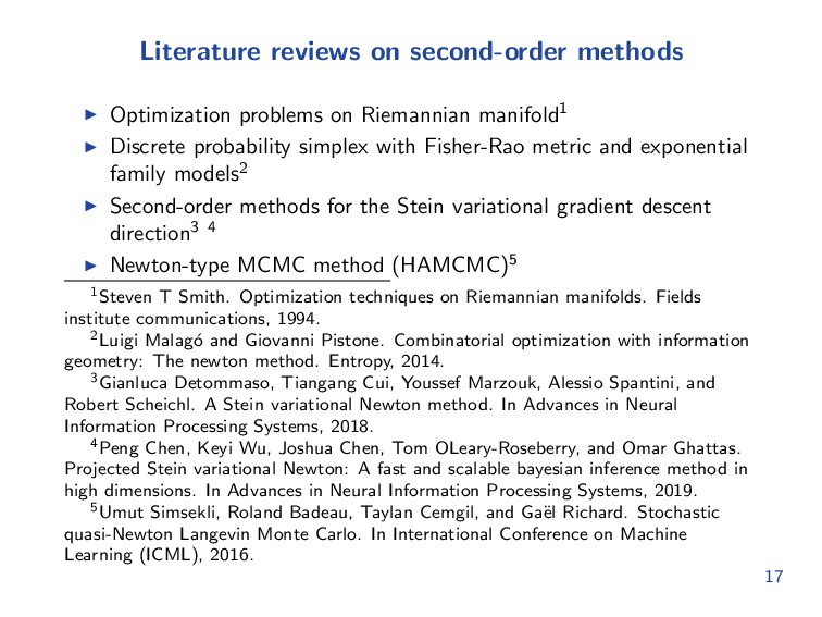 Literature reviews on second-order methods Opti...