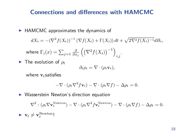 Connections and differences with HAMCMC HAMCMC a...