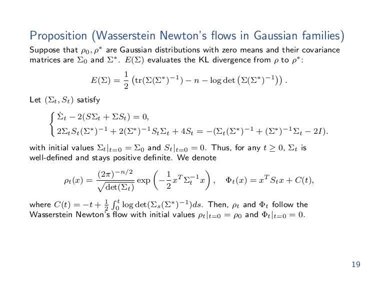 Proposition (Wasserstein Newton's flows in Gauss...