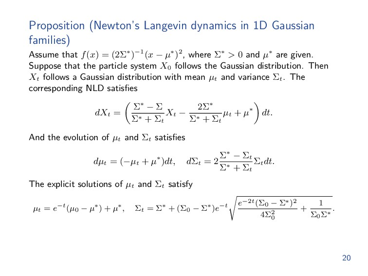 Proposition (Newton's Langevin dynamics in 1D G...