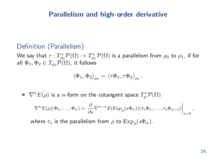 Parallelism and high-order derivative Definition...
