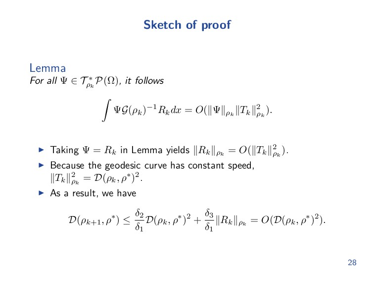 Sketch of proof Lemma For all Ψ ∈ T ∗ ρk P(Ω), ...