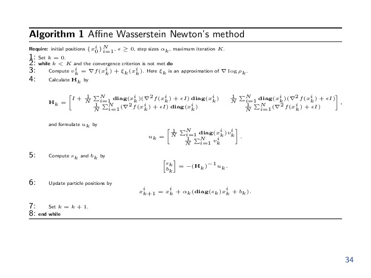 Algorithm 1 Affine Wasserstein Newton's method Re...