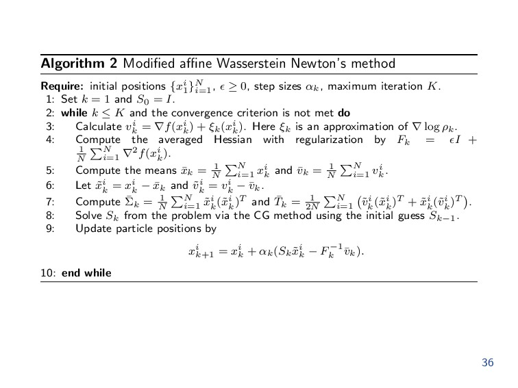 Algorithm 2 Modified affine Wasserstein Newton's m...