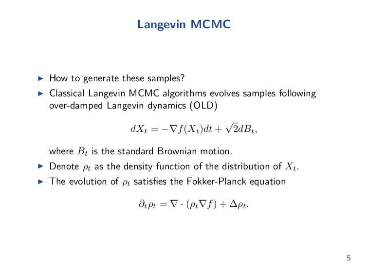 Langevin MCMC How to generate these samples? Cl...