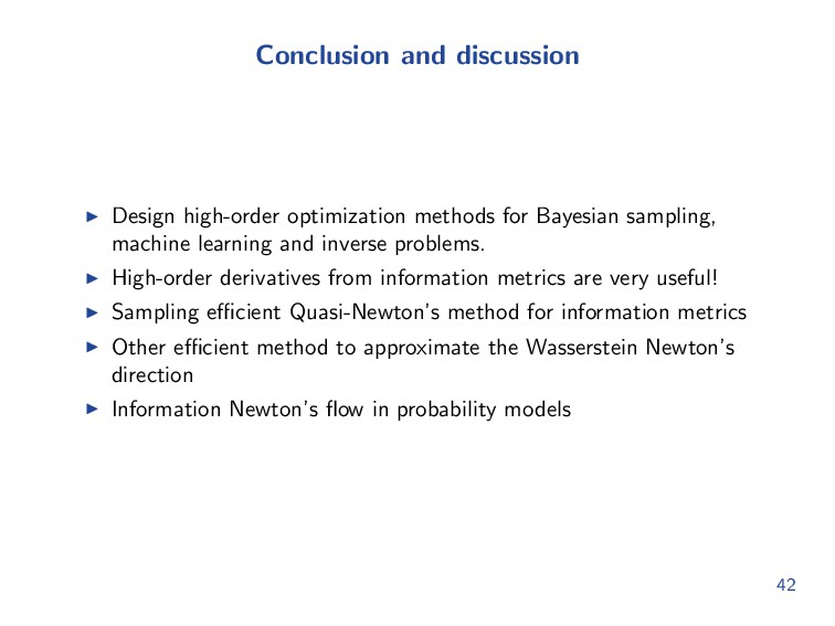 Conclusion and discussion Design high-order opt...