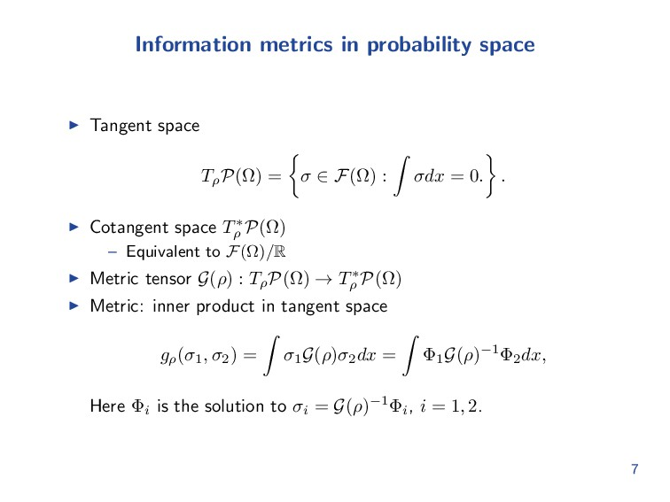 Information metrics in probability space Tangen...