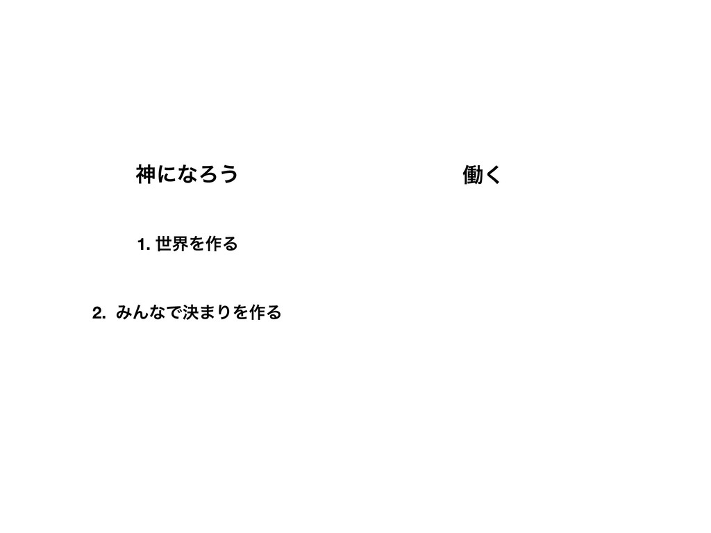 ਆʹͳΖ͏ 1. ੈքΛ࡞Δ 2. ΈΜͳͰܾ·ΓΛ࡞Δ ಇ͘