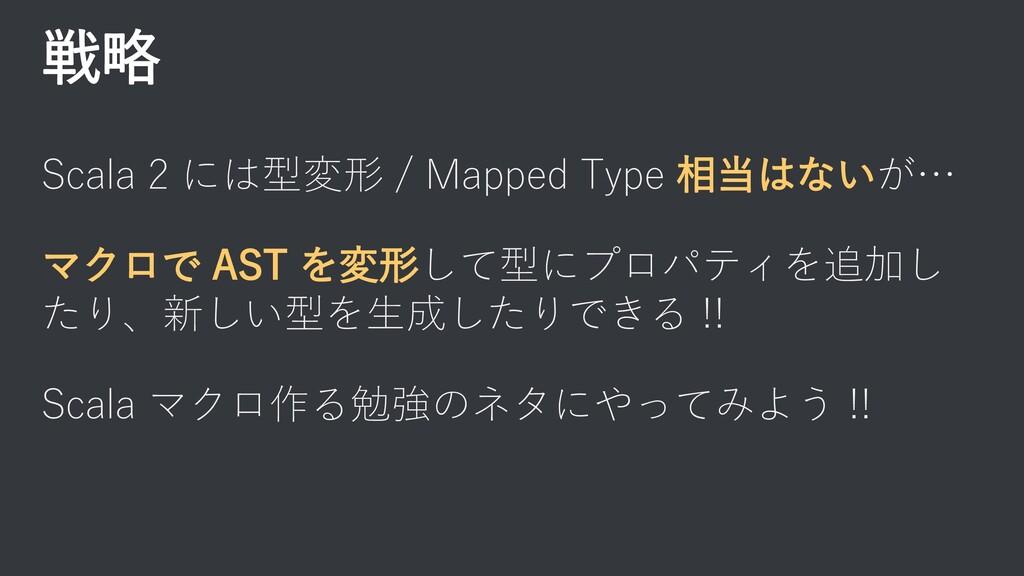 戦略 Scala 2 には型変形 / Mapped Type 相当はないが… マクロで AST...
