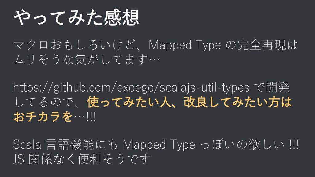 やってみた感想 マクロおもしろいけど、Mapped Type の完全再現は ムリそうな気がして...