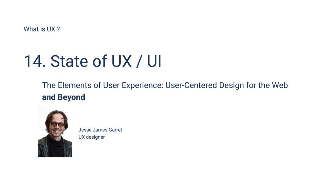 What is UX ? Jesse James Garret UX designer 14....