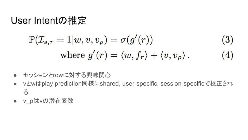 User Intentの推定 ● セッションとrowに対する興味関心 ● vとwはplay p...