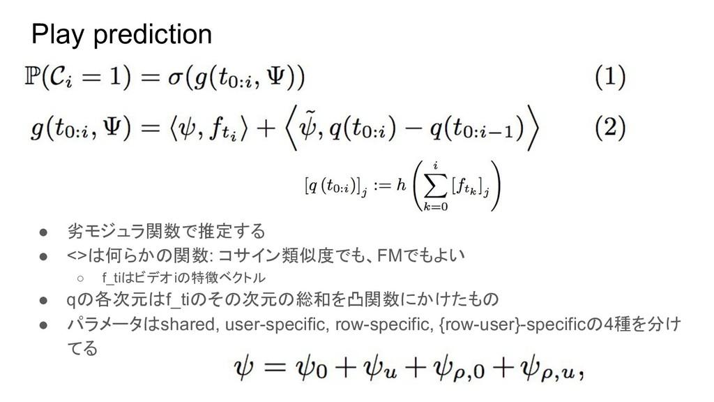 Play prediction ● 劣モジュラ関数で推定する ● <>は何らかの関数: コサイ...