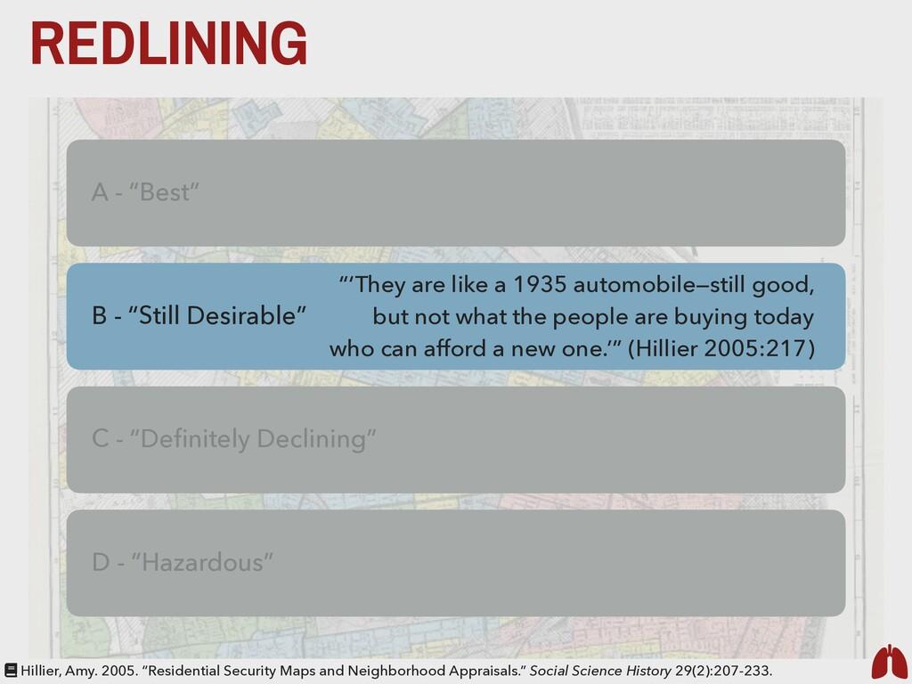 "REDLINING A - ""Best"" C - ""Definitely Declining"" ..."