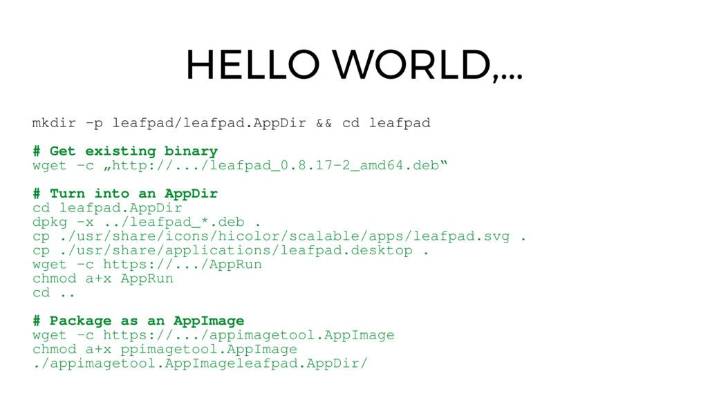 mkdir p leafpad/leafpad.AppDir && cd leafpad #...