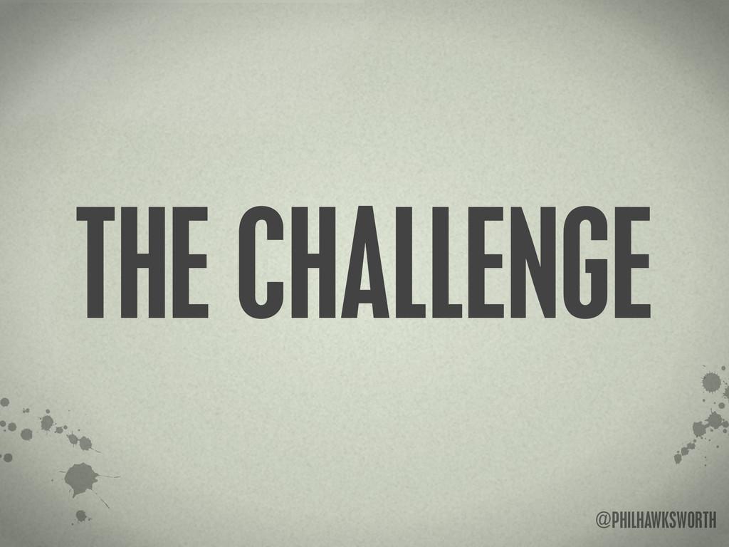 >< {}\ stu @PHILHAWKSWORTH THE CHALLENGE