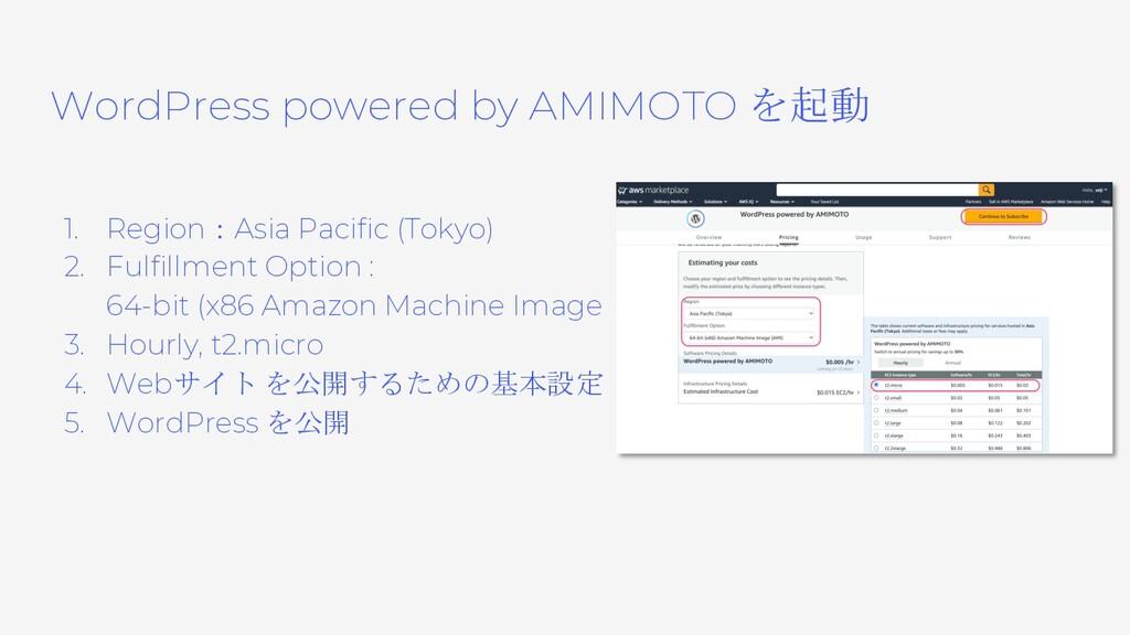 WordPress powered by AMIMOTO を起動 1. Region:Asia...