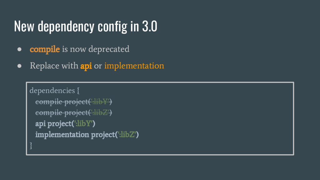 New dependency config in 3.0 ● compile is now d...