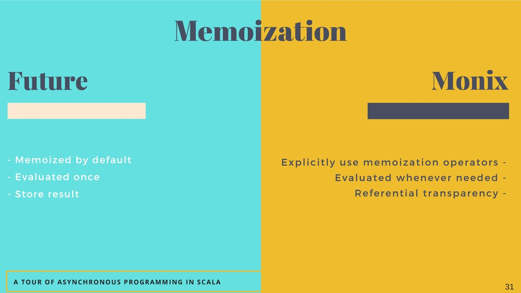 - Memoized by default - Evaluated once - Store ...