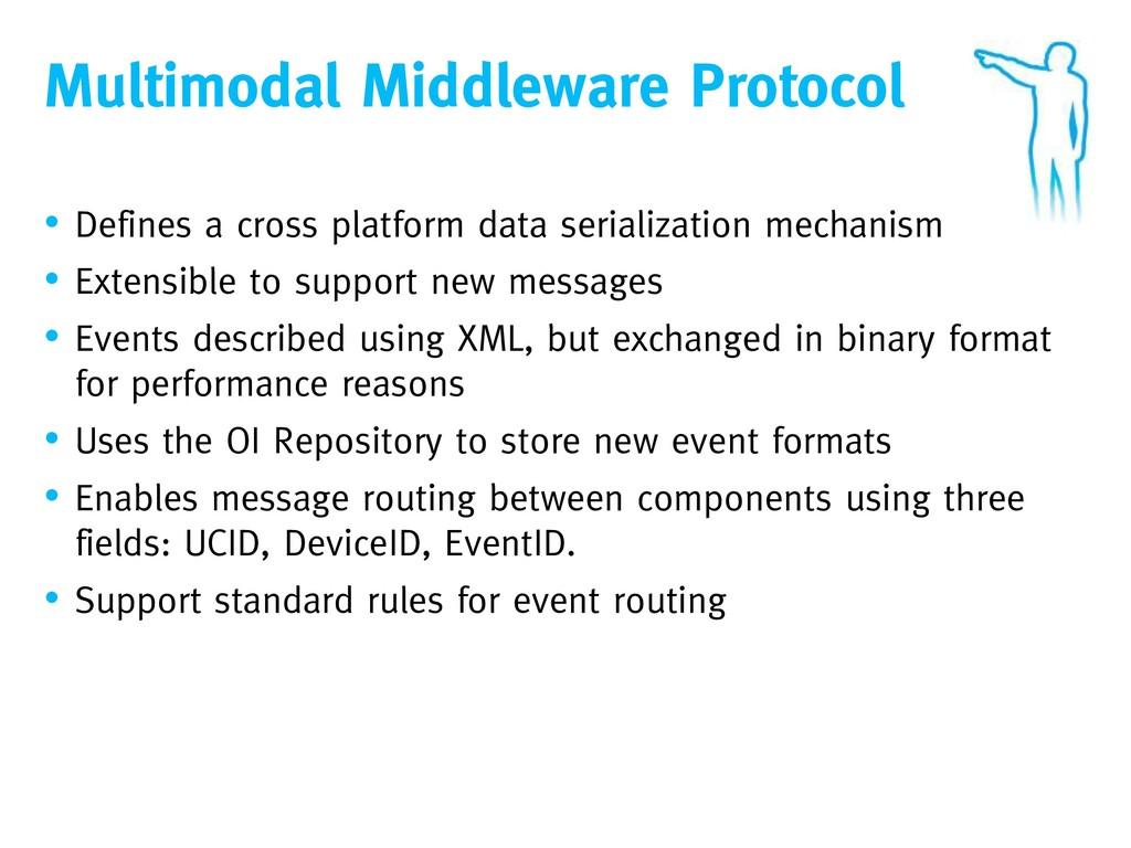 Multimodal Middleware Protocol • Defines a cros...