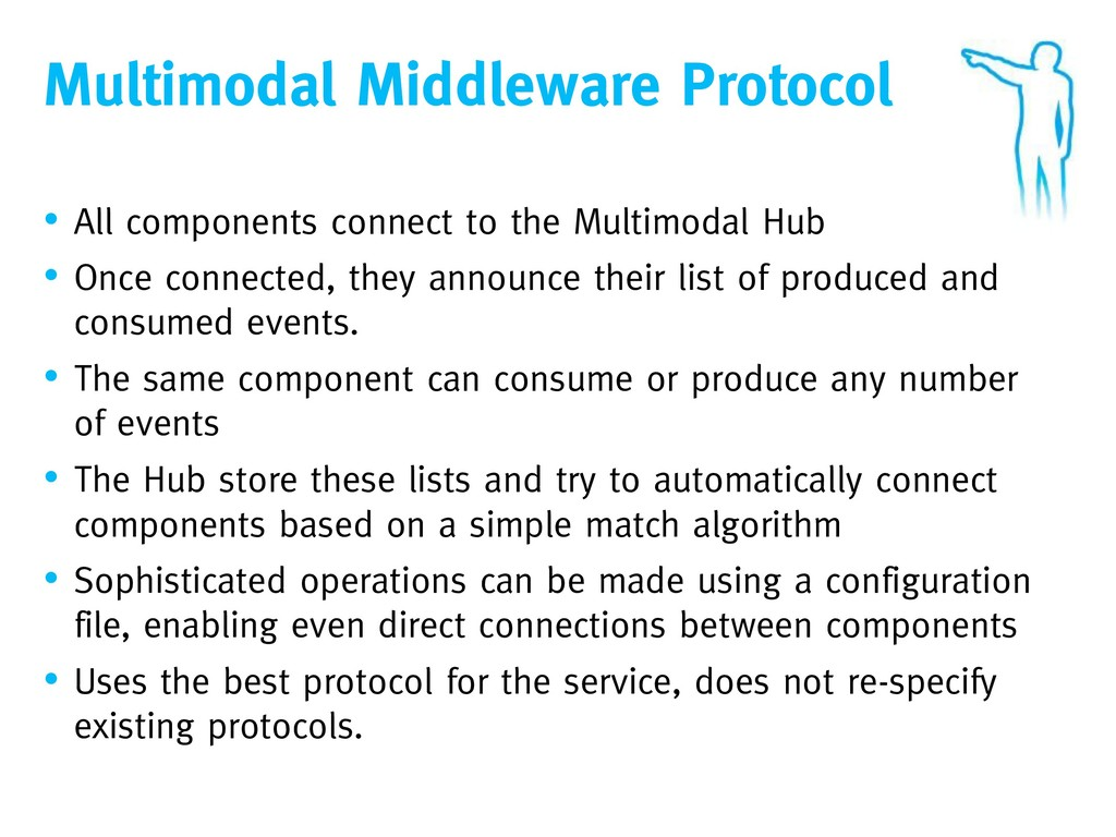 Multimodal Middleware Protocol • All components...