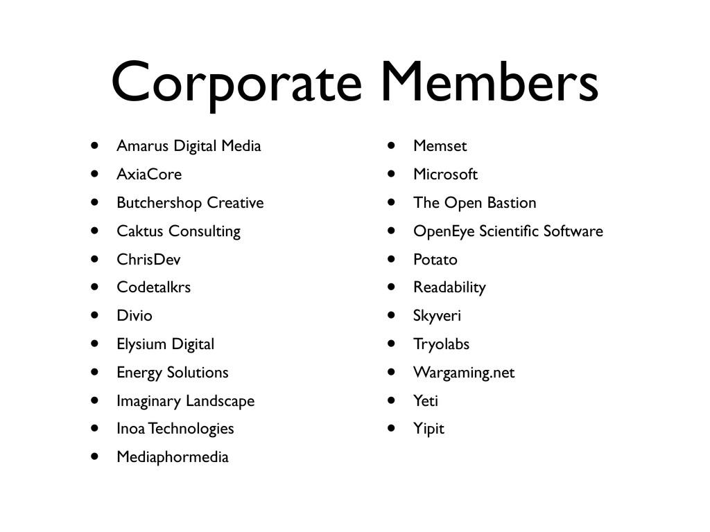 Corporate Members • Amarus Digital Media • Axia...