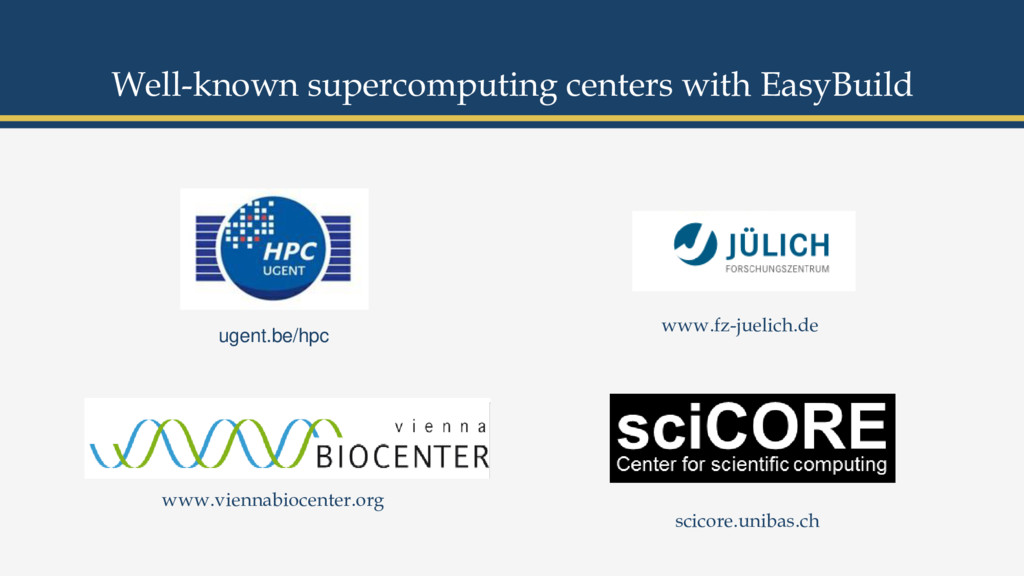 Well-known supercomputing centers with EasyBuil...