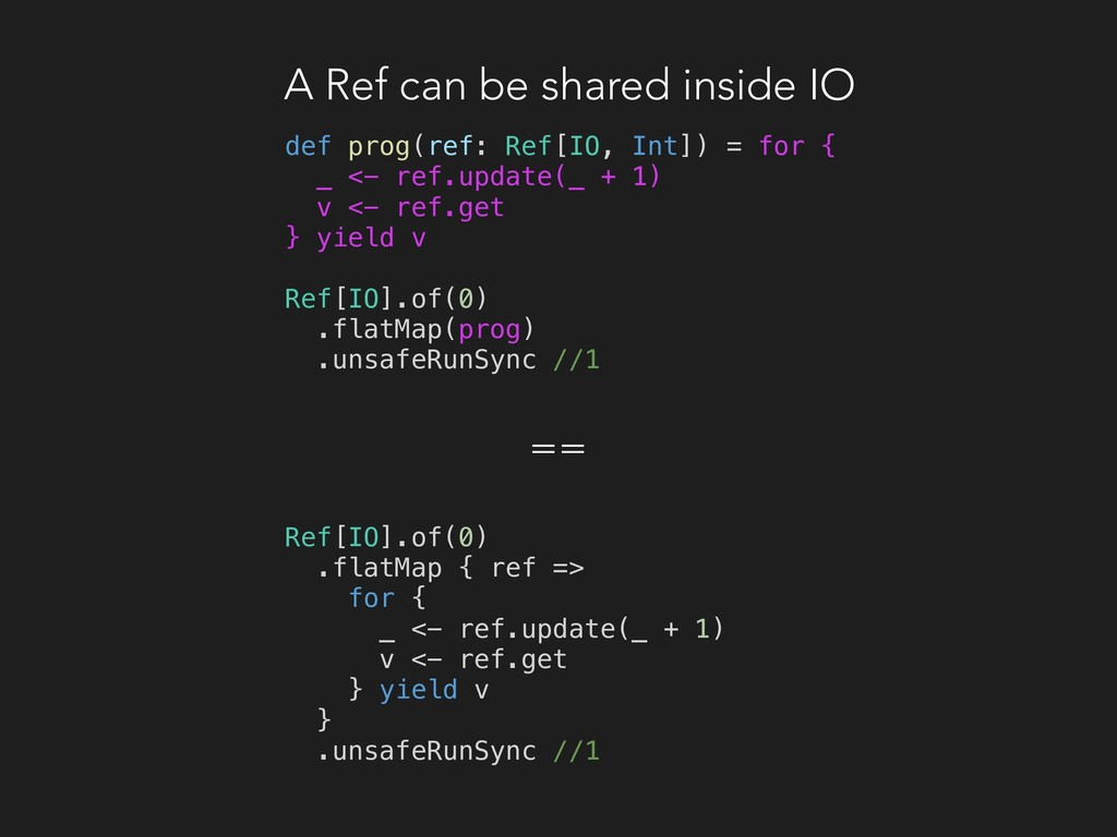 A Ref can be shared inside IO def prog(ref: Ref...