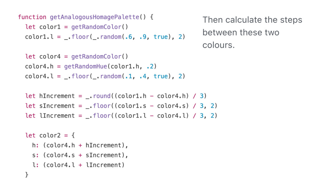 Then calculate the steps between these two colo...