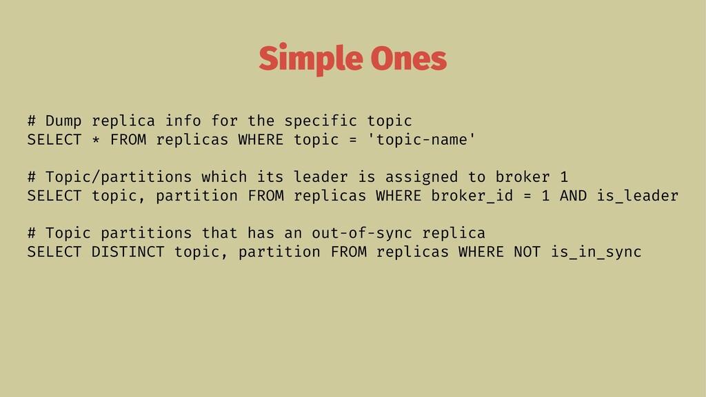 Simple Ones # Dump replica info for the specifi...