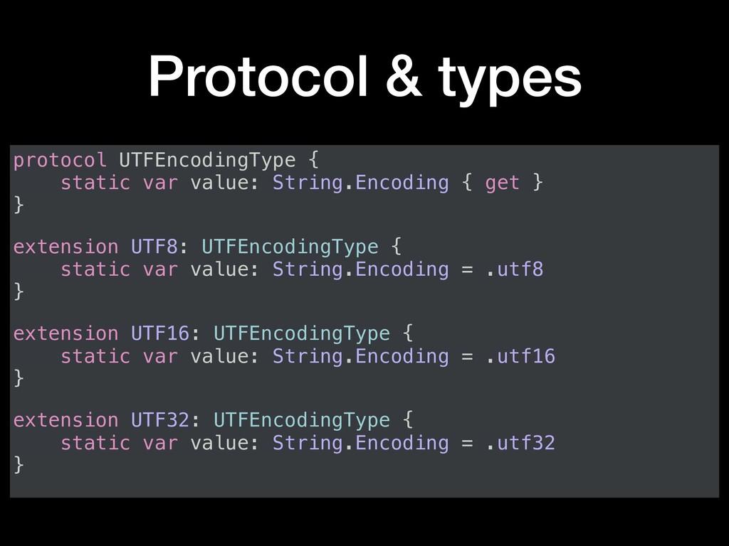 Protocol & types protocol UTFEncodingType { sta...