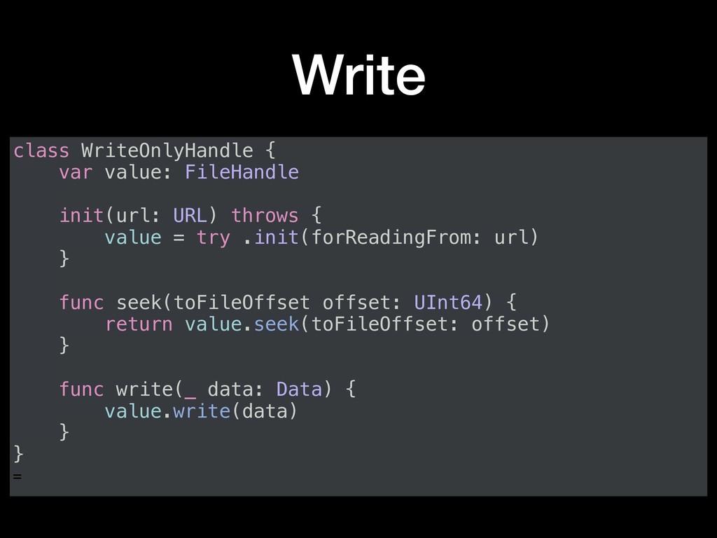 Write class WriteOnlyHandle { var value: FileHa...