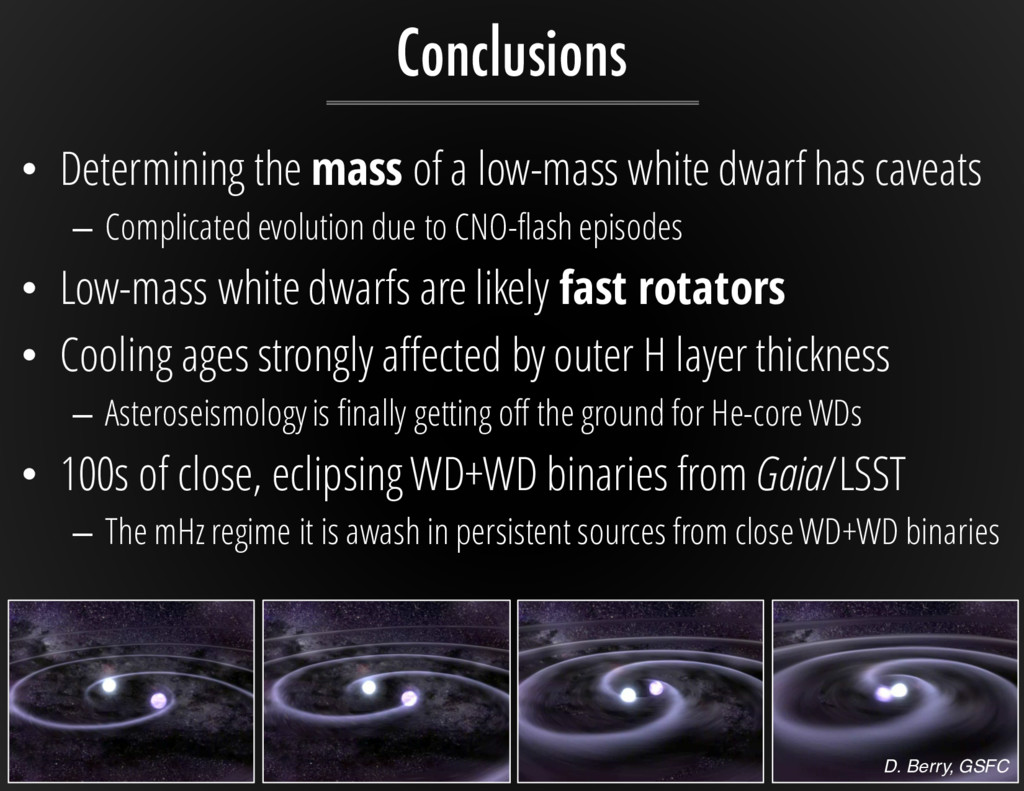 Conclusions • Determining the mass of a low-mas...