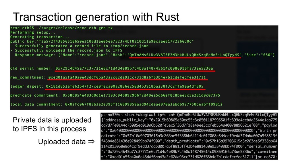 Transaction generation with Rust Private data i...