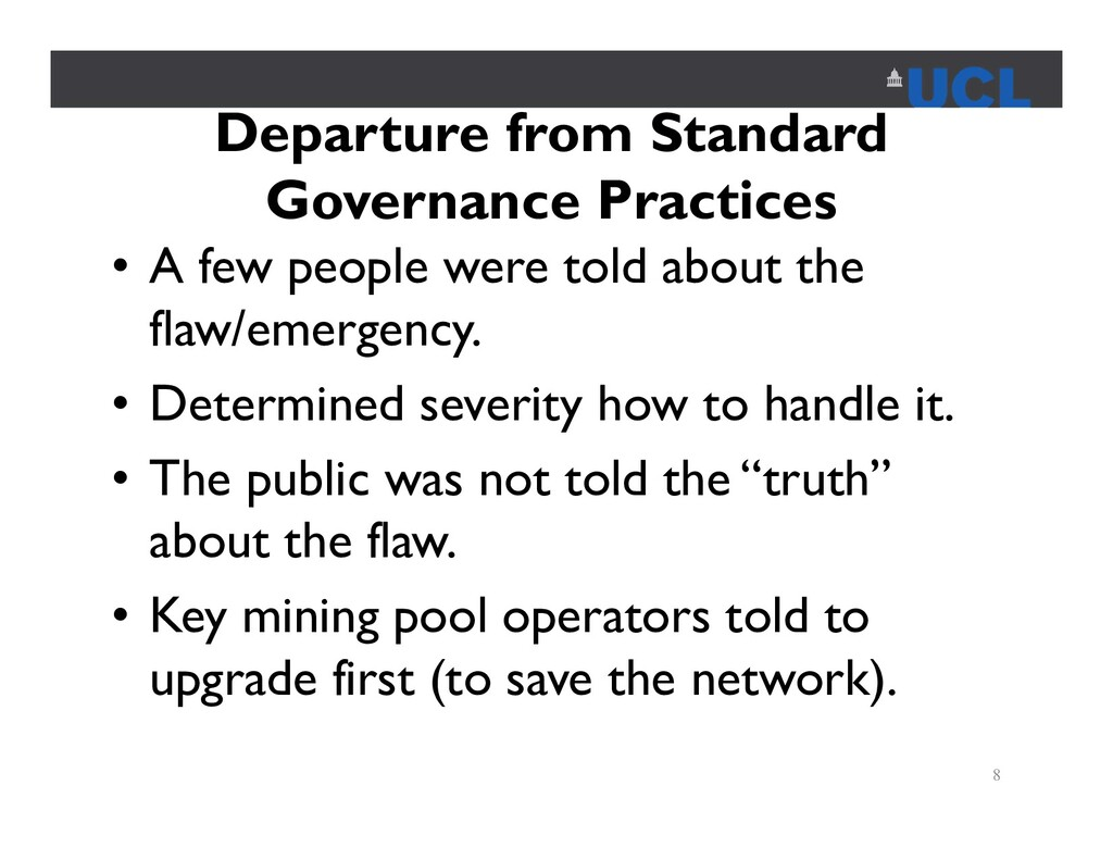 Departure from Standard Governance Practices • ...