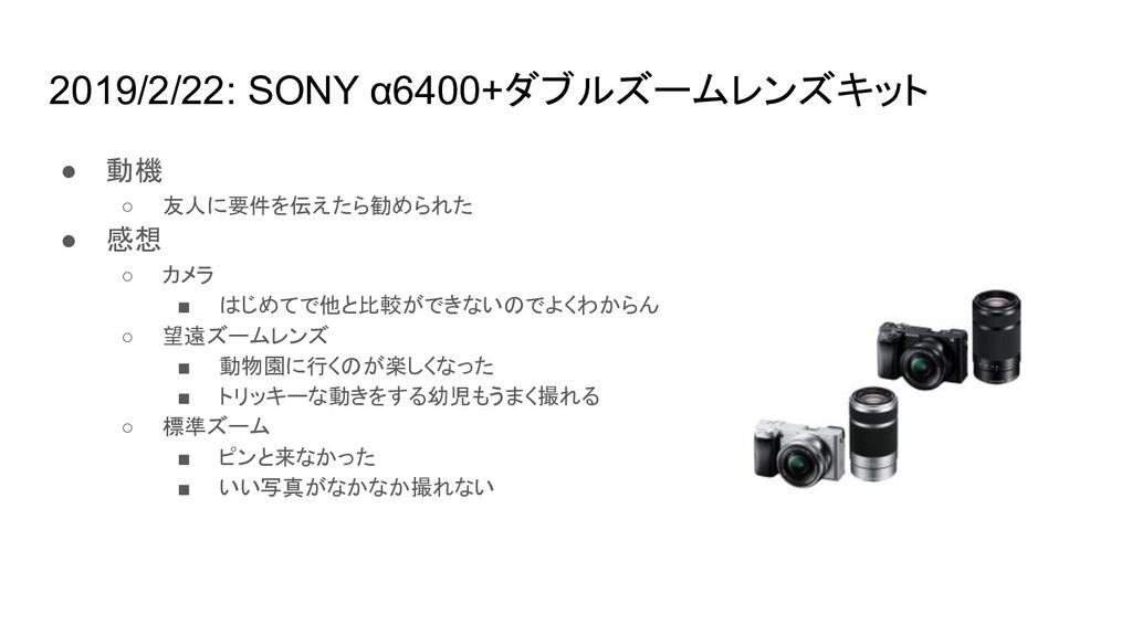 2019/2/22: SONY α6400+ダブルズームレンズキット ● 動機 ○ 友人に要件...
