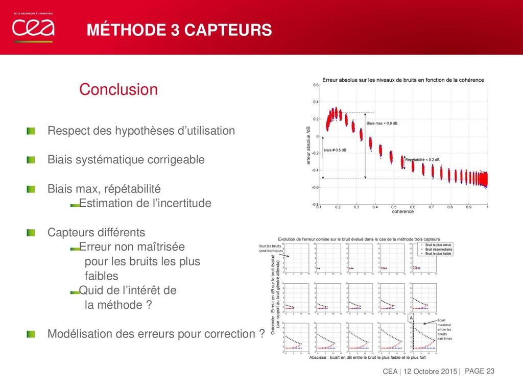 MÉTHODE 3 CAPTEURS Conclusion  Respect des hyp...