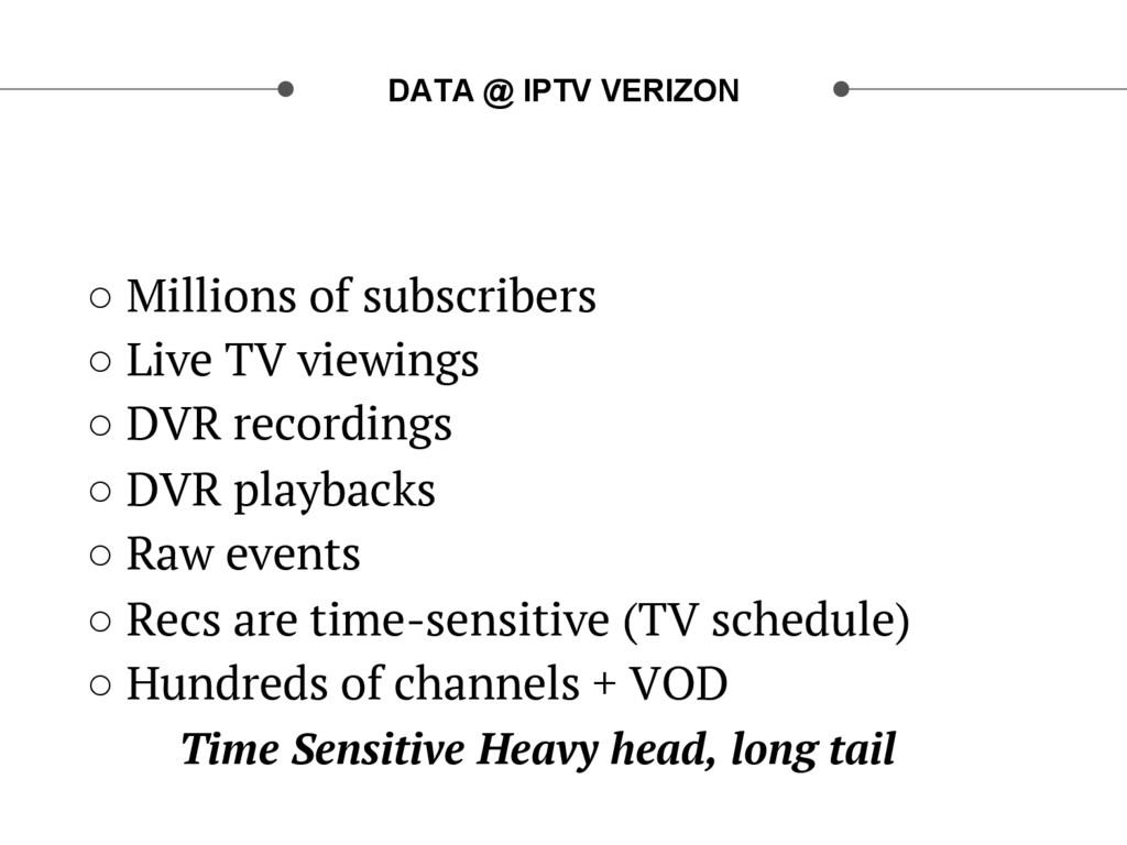 DATA @ IPTV VERIZON ○ Millions of subscribers ...