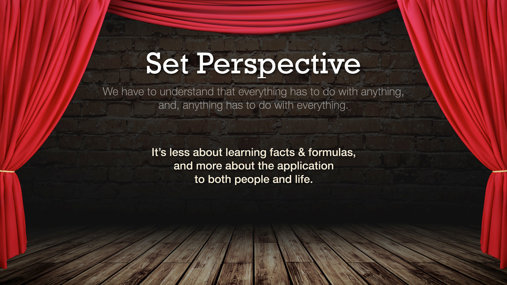 Set Perspective We have to understand that ever...