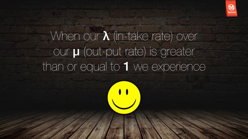 When our λ (in-take rate) over our μ (out-put r...