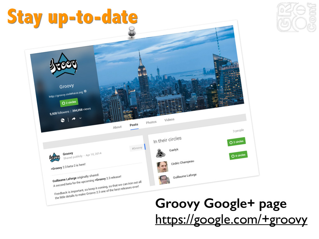 Stay up-to-date Groovy Google+ page