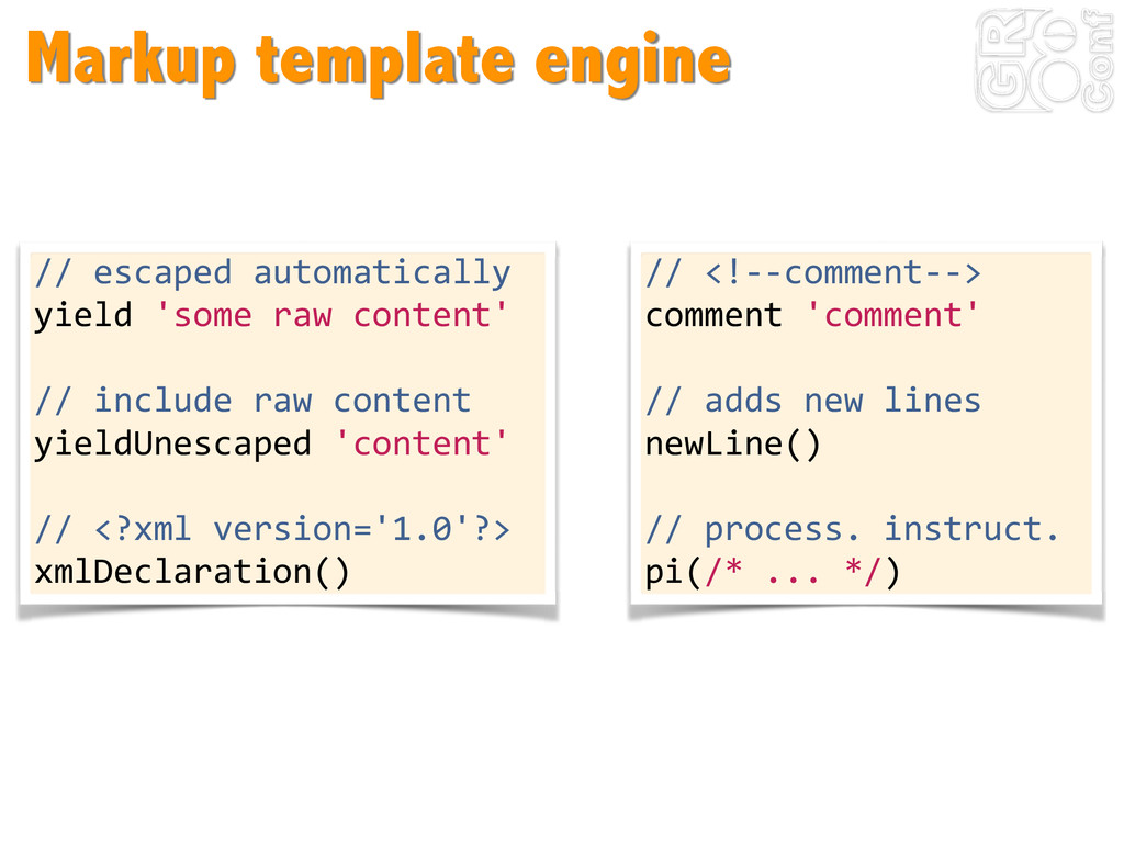 Markup template engine //	